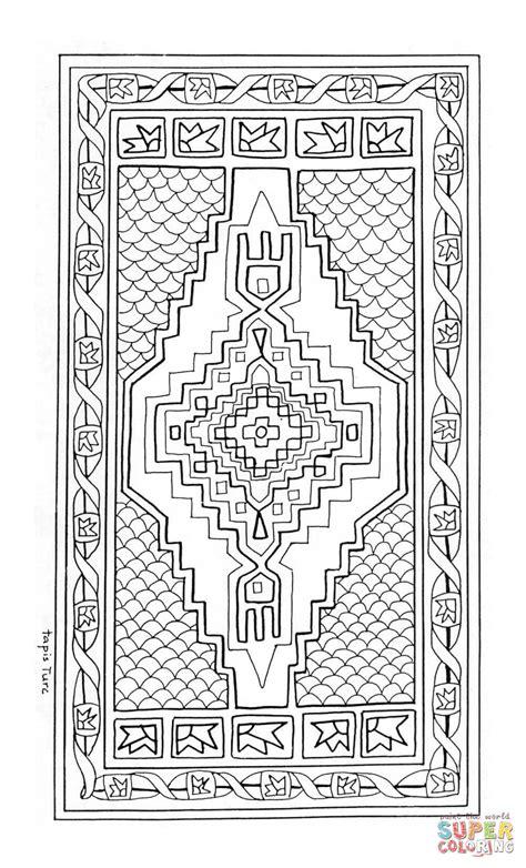 Turkish Rug Mandala Coloring Page Free Printable Rug Coloring Page