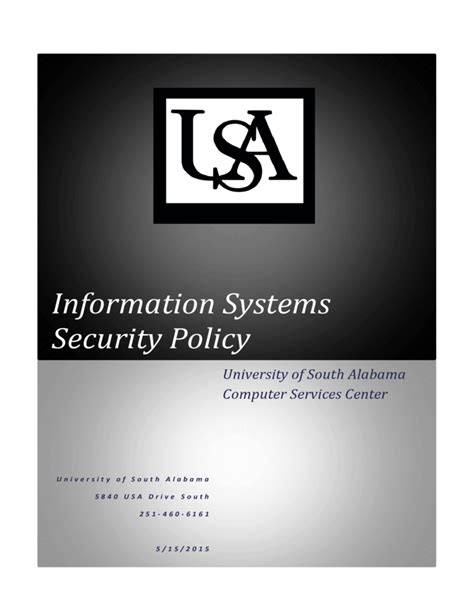 information system security policy template information systems security policy free