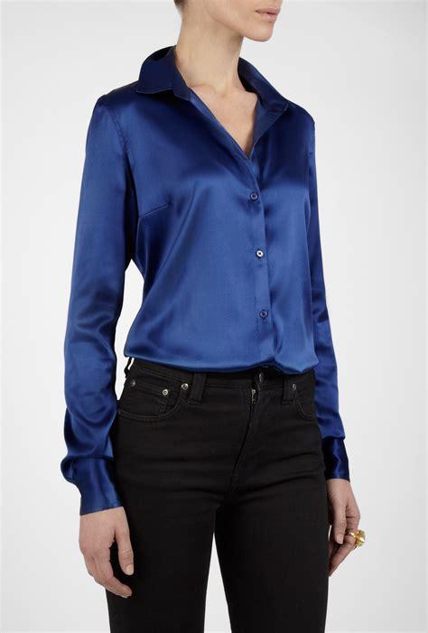 Sleeve Blouse blue silk satin blouse blouse with