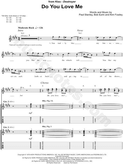 love theme kiss tab kiss quot do you love me quot guitar tab in e major download