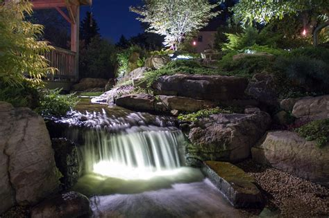 waterfall lights led underwater pond water feature lighting services