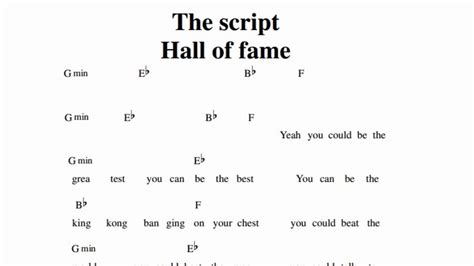 tutorial piano hall of fame the script hall of fame guitar chords youtube