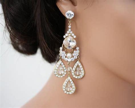 Gold Chandelier Earrings For Wedding Gold Chandelier Earrings Large Statement Wedding Earrings