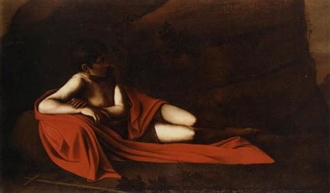reclining baptist 1610 by caravaggio
