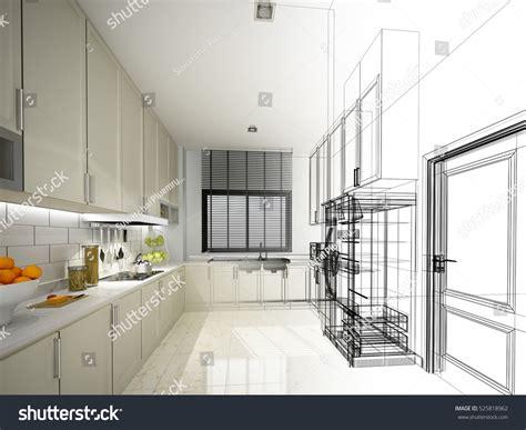 sketch to design a 3d kitchen abstract sketch design interior kitchen 3d stock illustration 525818962