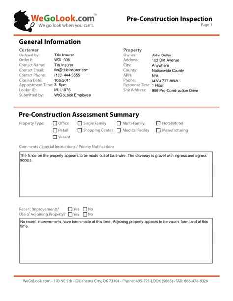 construction site visit report template field services pre construction onsite inspection sle