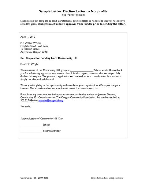 Decline Grant Letter Best Photos Of Sle Grant Request Letter Sle Letter Requesting Grant Money Grant Request