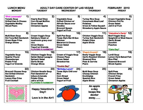 daycare menu templates 7 best images of printable sle day care menus sle
