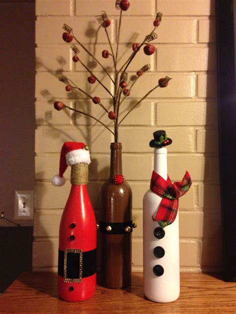 wine decorations for the home santa reindeer snowman trio for the holidays made from