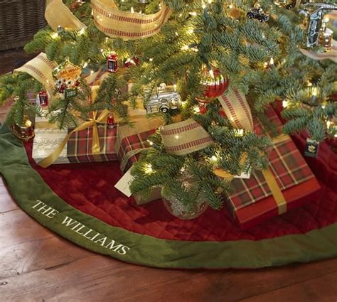 and green tree skirt velvet tree skirt with green cuff pottery barn