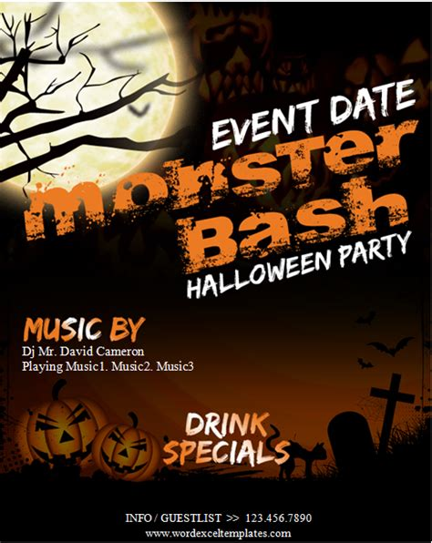 ms word halloween party flyer templates word excel