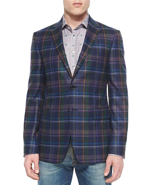 Blazer Plaid Two Pockets etro multi plaid two button blazer in green for lyst
