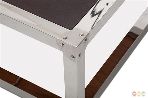 Coffee Table Espresso Finish Salvatore Stainless Steel Coffee Table With Wood Top In Espresso Finish