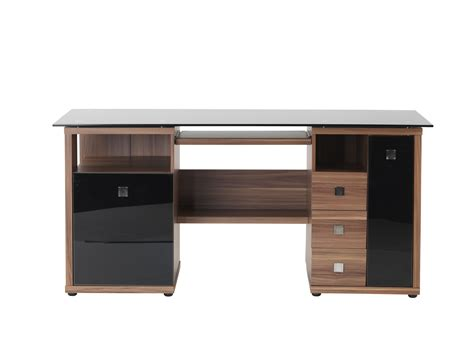 walnut computer desk alphason saratoga walnut black glass computer desk aw14004