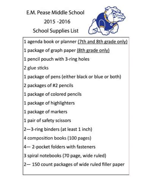 middle school supplies pease m s 2015 2016 school supply list e m pease