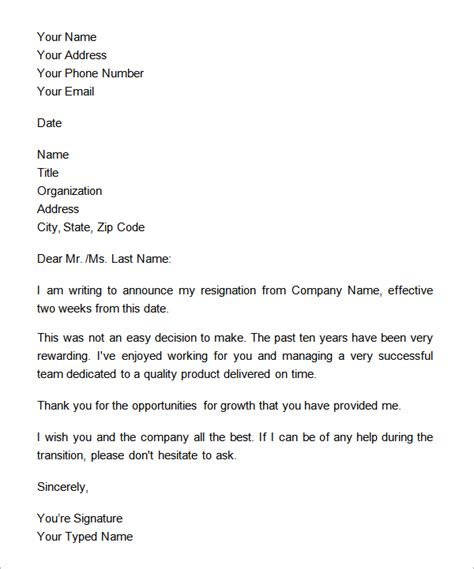 exle formal notice letter formal two week notice resignation letter exle
