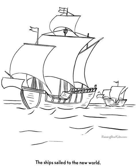 columbus ships to color boat coloring page colorimg