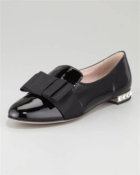 black patent loafer lyst miu miu patent leather bow loafer in black
