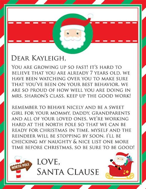 printable personalized letters from santa personalized printable letter from santa