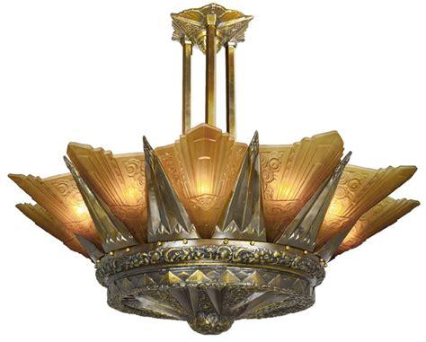 french marseille  light art deco slip shade chandelier