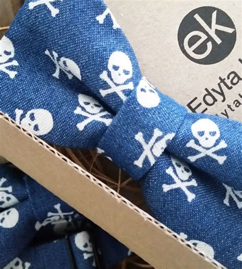 Handmade Bow Tie - pirate style bow tie handmade bow tie skull theme blue
