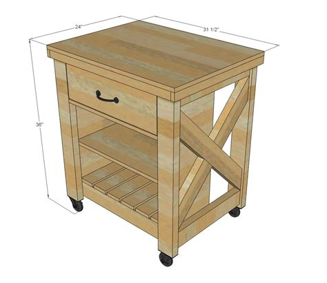 kitchen island table plans white build a rustic x small rolling kitchen island