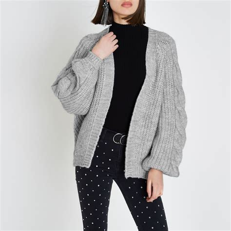 knit wear grey chunky cable knit cardigan cardigans knitwear