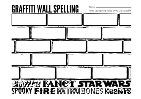 graffiti wall template spelling activities graffiti wall spelling printable