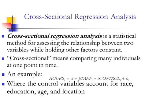 Cross Sectional Regression chapters 1 to 4 outline the four questions of