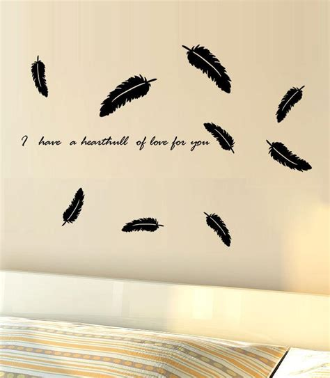 Sticker Wallpaper Flying Feather black flying feather wall decal sticker bedroom living room tv background wall mural decor