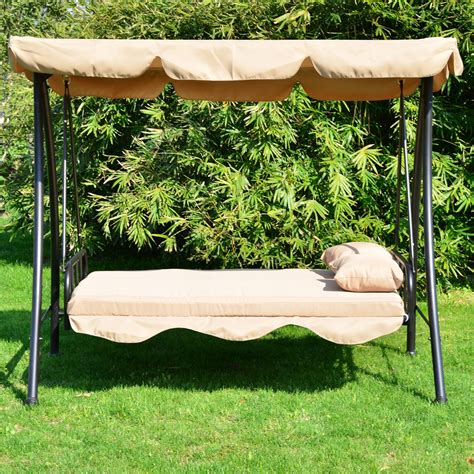 covered patio swing outsunny 80 quot covered outdoor porch swing bed with frame