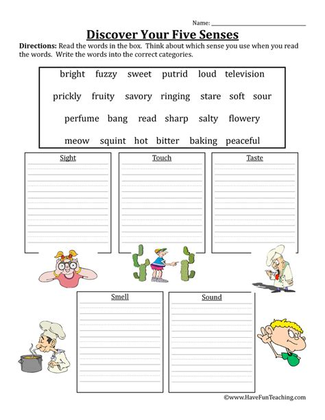 five senses worksheet teaching