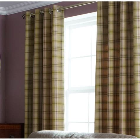 green tweed curtains iliv cerato fern tartan check lined eyelet curtains iliv