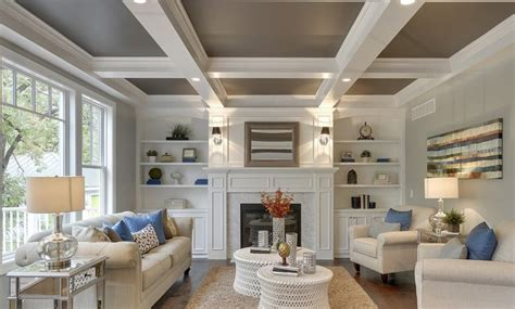 great photo  coffered ceiling  fireplace detail greensboro interior design window