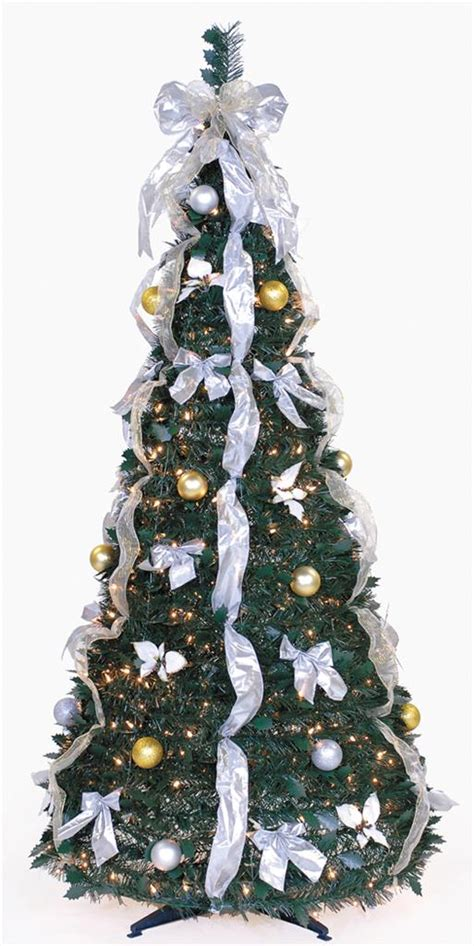 collapsible decorated christmas trees 6 ft pull up decorated pre lit collapsible pop up tree 350 lights ebay