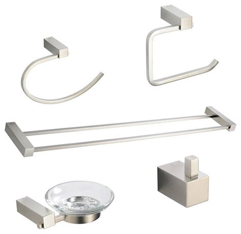 brushed nickel bathroom accessories sets ottimo 5 piece bathroom accessory set brushed nickel with