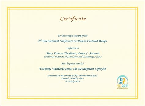 certificate design for symposium hci international