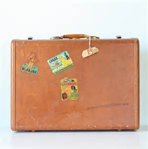 vintage suitcase with decals
