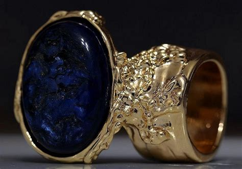 Avante Blue Metalic By Fcwarehouse arty oval ring metallic blue black gold chunky knuckle