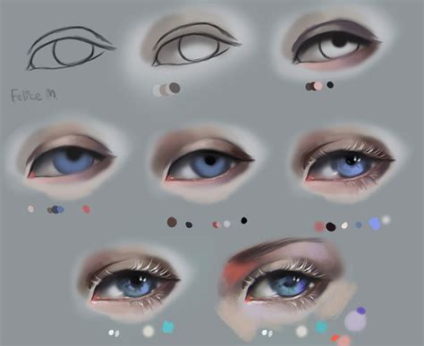 eyeshadow tutorial art semi realism eyes with white lashes step by step by