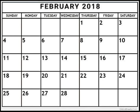 printable calendar 2018 editable printable february 2018 calendar editable