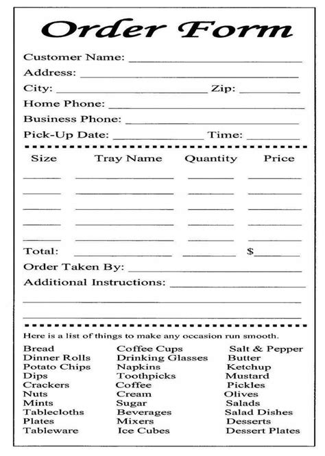 delivery menu template catering or carryout form used for ordering and