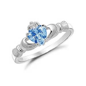 claddagh rings sterling silver simulated aquamarine claddagh ring kriskate co