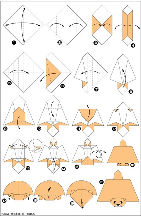 Origami Squirrel Diagram - origami paper the flying squirrel scheme and