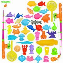 Dijamin Fishing Toys Mainan Anak Ikan 45pcs set plastic magnetic fishing toys set children 2 poles 2 nets 41 magnet fish indoor