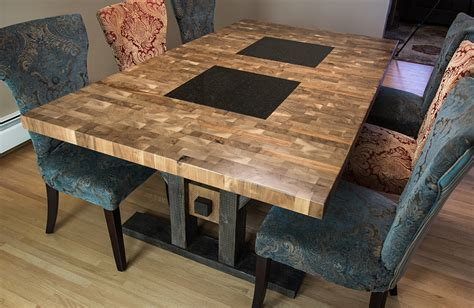custom furniture regina butcher block style dining table reclaimed butcher block dining table chairish