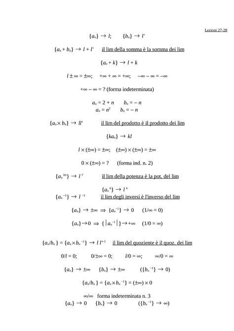 dispense matematica generale operazioni con i limiti dispense