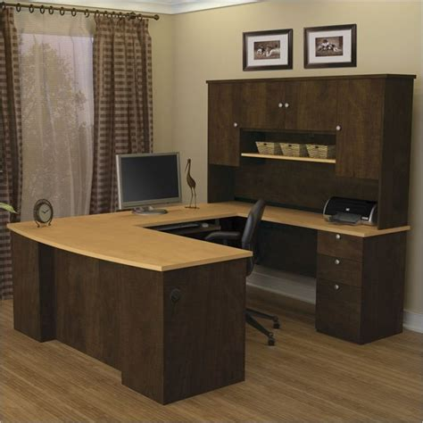 chocolate brown computer desk bestar manhattan u shaped computer desk in secret maple