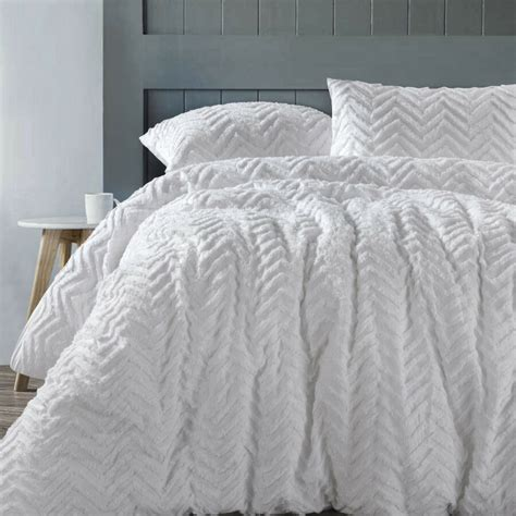 chevron white  cotton chenille quilt doona cover set