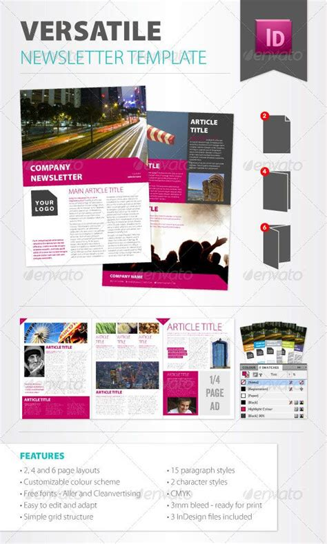 Pink Modern Design Pinterest Newsletter Templates Indesign Templates And Template Contemporary Newsletter Template